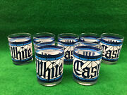 """Vintage White Castle Stained Glass Tumblers 4-1/4""""h, 3-1/4"""" Diameter Set Of 7"""