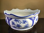 Large 12andrdquo Asian Blue And White Porcelain Planter Bowl With Ruffled Edge