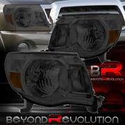 For 05-11 Toyota Tacoma Smoked Headlights With Amber Reflector Plug And Play Pair