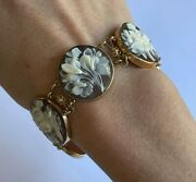 Vintage 14 K Gold And Round Floral Cameos Bracelet Hand Carved Shell Butterflies