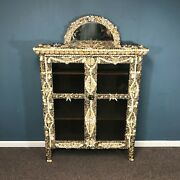 Antique Oak Glass Front Seashell Mosaic Style Decorated Bookcase