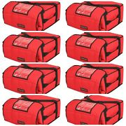 Case Of 8 Pizza Delivery Bags Insulated Holds 4-5 16 Or 18 Pizzas Red.