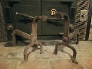 Fireplace Andirons / Fire Dogs Primitive Antique Cast Iron, Hand Forged