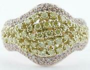 1.37ct White And Fancy Yellow Diamond 18kt 2 Tone Gold Multi Row Double V Fun Ring