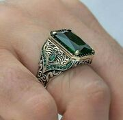 Menand039s Ring 925 Sterling Silver Turkish Handmade Jewelry Emerald All Size