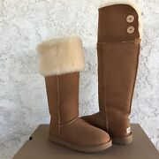 Ugg Bailey Button Over The Knee Chestnut Suede Sheepskin Tall Boots Size 8 Women