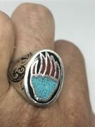 1980's Vintage Silver White Bronze Size 10 Bear Paw Turquoise Inlay Ring