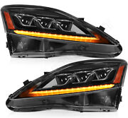 For 2006-2013 Lexus Is 250 350 Isf Led Headlights Assembly Headlamps Black Pair