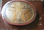 Vintage 1987 Marlboro Longhorn Solid Brass Belt Buckle In Original Packaging