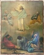 Large Rare Antique 19chand Painted Russian Orthodox Icon Of The Transfiguration