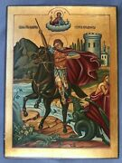Antique Russian 20th C Hand Painted Wood Icon Of The St.george The Victorious17
