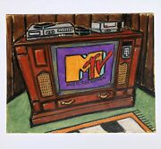 Original Oil Pastel Vintage Big Console Tv And039mtv Is Onand039 With Vcr And Old Nes Art