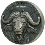 2020 5 Oz Silver 5000 Francs Water Buffalo Big Five Mauquoy Antique Finish Coin.