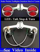 Red Led Stainless Stake Pocket Taillights W/ Loom Ford Stepside Pickup Truck
