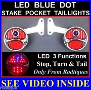 Led Blue Dot Stainless Stake Pocket Taillights Pickup Truck Hot Rod Chevy Gmc
