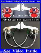Led Blue Dot Stainless Stake Pocket Taillights W/ Loom Truck Hot Rod Chevy Gmc