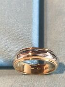 And Co Mens 18ct Gold And Platinum Mill Grain Wedding Ring