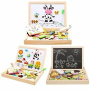 Kids Wooden Puzzles Multifunctional Magnetic Drawing Board Cartoon Character Sce