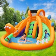 Retro Jump Dinosaur Inflatable Bouncer With Blower Dual Slides Water Park