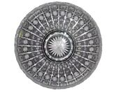 """Bohemian Czech Vintage Crystal 16"""" Round Bowl Hand Cut Queen Lace 24 Lead Glass"""