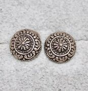 Antiques Style 925 Sterling Silver No Stone Round Stud Earrings