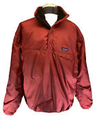 Reversible Pullover Snap-t Jacket L Large Sherpa Fleece Red Brown Mens