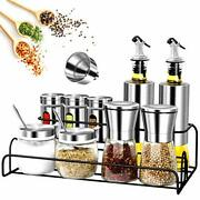 13pcs Spice Containers Glass Set With Spice Rack Include Salt And Pepper