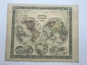 World Map 1860 Mitchell Large Antique Engraved Map 19th Century