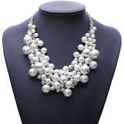 White Pearl Multi Layer Necklace Ladies Statement Bib Beaded Vintage Chunky Cn