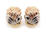 Classic 18k Tri Color Gold Yellow White Rose Woven Cable Hoop Huggie Earrings