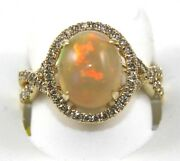 Natural Oval Opal And Diamond Halo Infinity Solitaire Ring 14k Yellow Gold 3.02ct