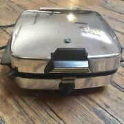 Vintage Manning Bowman Electric Chrome Waffle Maker Grill Iron 375007 Tested