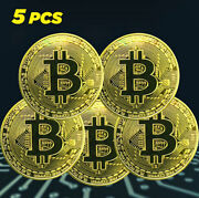 5pcs Gold Bitcoin Coins Commemorative 2020 New Collectors Gold Plated Bit, 3mm