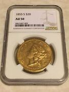 1855-s Au50 Ngc Liberty Double Eagle 20 Gold Coin Very Nice And Sharp No Pcgs