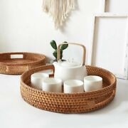 Woven Rattan Round Bread Baskets Snack Storage Plate Hotel Essential Oil Tray