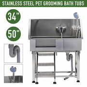 34'' 50 Pet Grooming Bath Tub Stainless Steel Removable Ladder Shower Wash