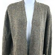 Eileen Fisher All Silk Open Front Cardigan Pm Textured Multi Earth Tone Colors