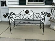 A Maitland Smith Regency Style Steel And Bronze Bench W/ Lion Medallions Settee