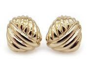 Classic 14k Yellow Gold Woven Cable Button Stud Shrimp Earrings