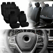 Suv 3row 8 Seats Black Seat Covers With Gray Leather Steering Wheel Cover Combo