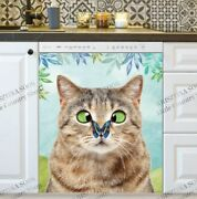 Kitchen Dishwasher Magnet - Cute Cat And A Butterfly