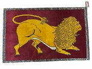 3x4 New Handmade Rug Zagros Wool Lion Pictorial Rug Organic Dyes Yellow Red
