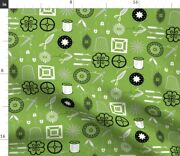 Green Sewing Notions Craft Thread Scissors Fabric Printed By Spoonflower Bty