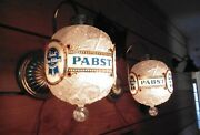 2 Vintage Pabst Blue Ribbon Spinning Faux Crystal Wall Sconce Bar Lights Rare