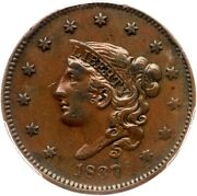 1837 N-17 R-4 Pcgs Vf 35 Med Letters Matron Or Coronet Head Large Cent Coin 1c
