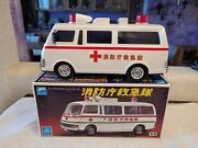 Vintage Japan Toy Alps Ambulance Fire And Disaster Truck  W/box And Working.