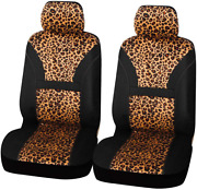 Leopard Print Front Car Bucket Seat Cover Cheetah Universal Fit Truck Suv And Van