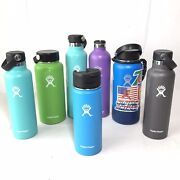 7 Hydro Flask Water Bottle Lot 18oz 21oz 24oz 32oz Blue Green Grey Purple