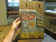 Vtg Coca Cola Coke Sign Hand Painted Folk Art On Wood Mail Pouch General Store