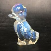 Fenton Opalescent And Clear Hand Painted Duck W/ Sticker Artist Signed 2000 3.5andrdquo